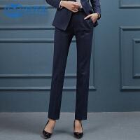 【12.12疯抢 2件6折】女先生2019新款韩版西裤女职业装高档条纹西装裤直筒裤长裤