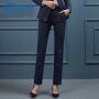 【产地直销,小二推荐】女先生2020新款韩版西裤女职业装高档条纹西装裤直筒裤长裤