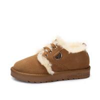 camel 骆驼女鞋 冬季新款 甜美舒适保暖棉鞋低帮鞋 磨砂面毛毛鞋