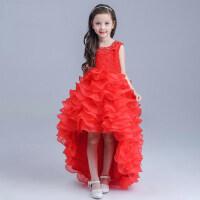 新品女童公主裙 蕾丝绣花拖尾长裙 女主持人晚礼服花童礼服裙儿童婚纱裙