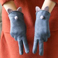 手套女冬保暖加绒麂皮绒可爱猫咪学生手套触摸屏户外骑行防寒