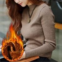 半高领毛衣女套头短款2017秋冬季新款修身加绒加厚打底针织衫t恤