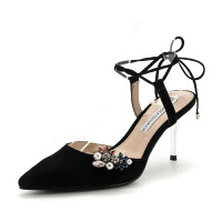 D:Fuse/迪芙斯羊反绒绑带细跟高跟女凉鞋子DF81114036