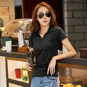 卡茗语2017春夏装新款韩版纯色纯棉短袖T恤 女士V领T恤上衣打底衫