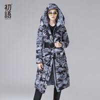 初语冬季新款迷彩外太空生物印花连帽加长加厚羽绒外套