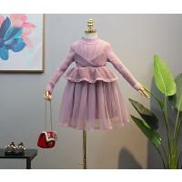 童装冬装时髦女童针织毛衣裙洋气女宝冬裙假两件连衣裙