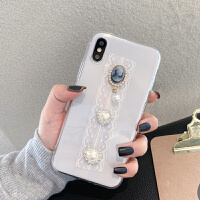 蕾丝珍珠水钻苹果xs max手机壳全包硅胶iphoneX保护套透明镶钻7plus软壳xr奢华网红8p