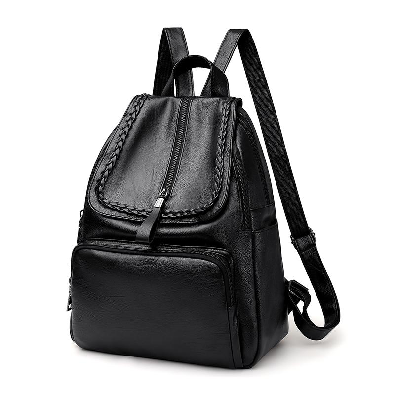 双肩包女士时尚软皮质简约休闲旅行背包