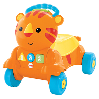 [当当自营]Fisher Price 费雪 二合一老虎学步车(双语)多功能益智早教玩具 CDC21【当当自营】适合9个月以上婴幼儿 踏行车 学步车 双语早教启蒙