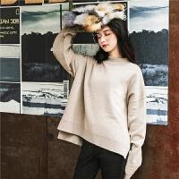 七格格针织衫女长袖秋装2018新款冬季时尚高领宽松慵懒风套头毛衣