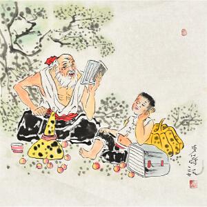 当代著名画家李涛50 X 50CM人物画gh05699