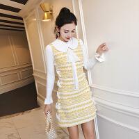 法式少女茶歇裙秋冬季打底连衣裙小香风甜美气质早秋两件套装裙子 黄色两件套