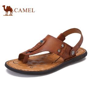 骆驼牌男鞋 新品头层牛皮凉拖鞋男士夹趾休闲沙滩鞋