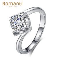 罗曼蒂珠宝白18K金钻戒女款1克拉钻石戒指时尚婚戒可裸钻定制结婚戒指需定制