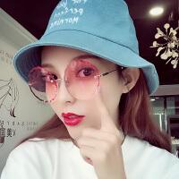 无框太阳镜花朵圆形个性网红明星款多边形渐变墨镜女眼镜