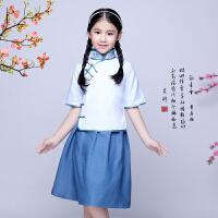 儿童民国学生装女童古装服装 五四青年装运动会演出服 毕业朗诵服