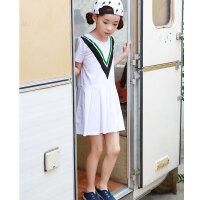 女童连衣裙新品夏装童装韩版短袖中大童学院风童裙