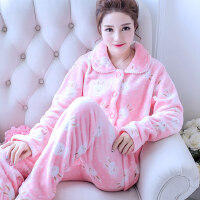 秋冬季家居服韩版大码可爱珊瑚绒睡衣女士冬天厚法兰绒长袖套装