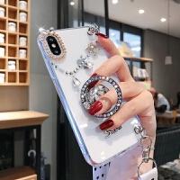 新款�O果8手�C��XSMAX透明iphone7plus女6�с@XR�炖K6splus支架潮 【 x/xs】透明斜挎�I滴+水�@