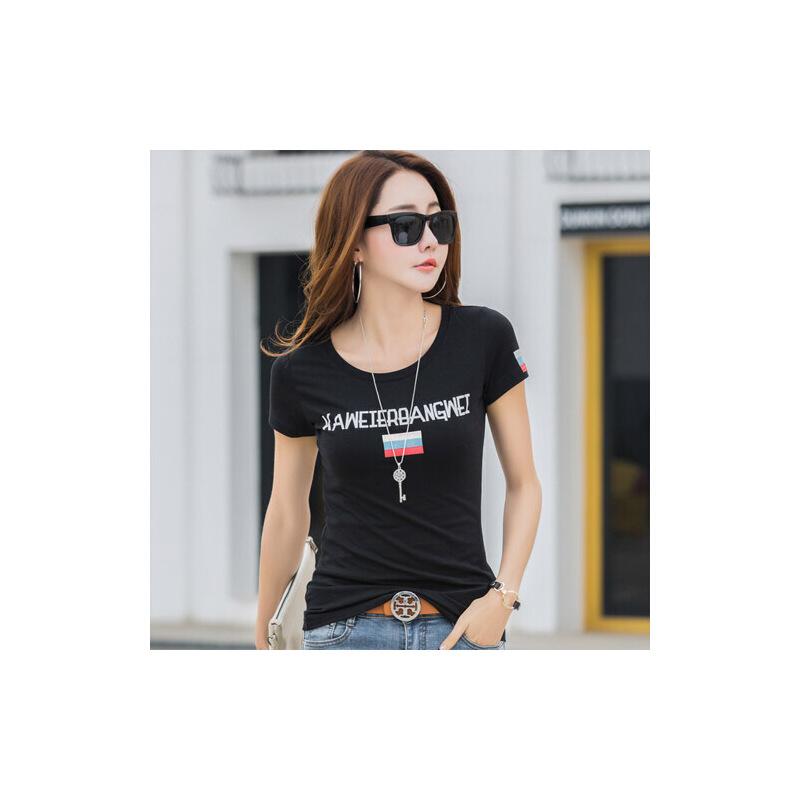 夏季新款女装上衣半袖体恤韩版修身纯棉短袖T恤女小衫打底潮WK7086