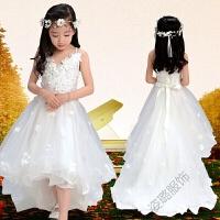 2018儿童礼服白色拖尾吊带婚纱女花童白雪公主裙钢琴服演出服 白色