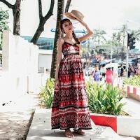 2018夏波西米亚连衣裙印第安风情无袖长裙民族印花流苏吊带沙滩裙 红色
