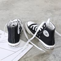高帮帆布鞋女学生韩版原宿港风百搭基础小白鞋平底休闲板鞋女