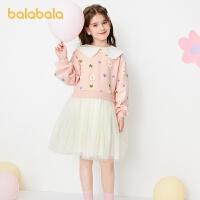 【2件7折:160.3】巴拉巴拉女童�B衣裙�和�公主裙春�b2021新款童�b大童拼接甜美可��