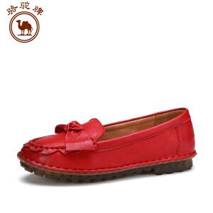 骆驼牌 秋季女鞋 休闲牛皮单鞋舒适百搭套脚女鞋