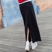 韩版女装半身裙子加厚秋冬款直筒裙包臀后开叉一步黑色中长裙