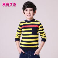 米奇丁当童装秋季新款儿童男童中大童上衣条纹毛织套头衫潮