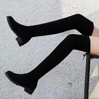 过膝长靴女圆头高跟弹力靴平底绒面高筒靴子加绒骑士靴女靴 跟高3厘米【筒高 58厘米】单里