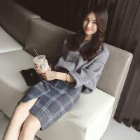 2018春季新款小香风针织毛衣两件套包臀套装裙女时尚2018新品 灰色毛衣+格子半身裙