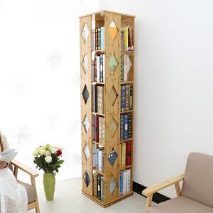 御目 书柜 楠竹旋转书架360度学生现代简易书架子创意书柜置物柜防尘柜置物架小书架柜子 创意家具