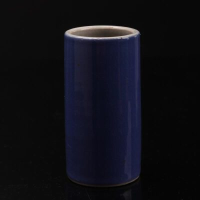 民国 天蓝釉小笔筒