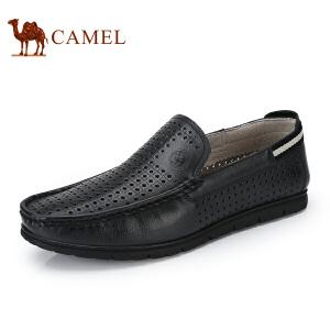 骆驼牌 男鞋 新品透气休闲皮鞋轻便镂空套脚低帮鞋男