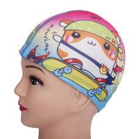 儿童泳帽 布女童印花高弹力游泳帽 防水 男女童7岁以下适合