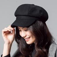 八角帽女春夏英伦复古贝雷帽子简约鸭舌帽男女羊毛报童帽
