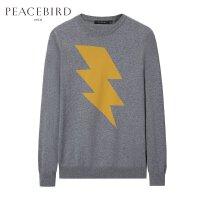 太平鸟男装 春季新款灰色短款黄色闪电撞色舒适基础毛衫B2EB71265