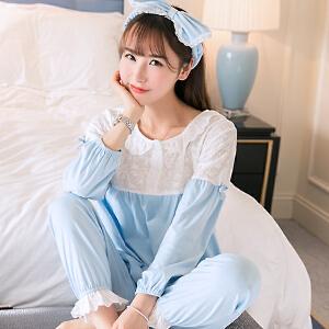 Yinbeler春秋季新款卡通韩版女人睡衣棉质圆领套头长袖印花蕾丝花边甜美利发国际lifa88服套装送发带