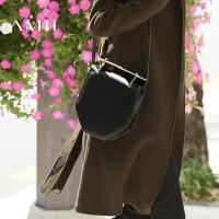 AMII[极简主义] 秋冬新品休闲羊皮金属手提单肩包女11693591