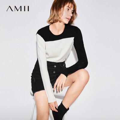 Amii极简时尚圆领套头毛衣女2018短款秋新撞色薄针织衫上衣打底衫.
