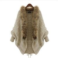 天天秋冬大码女装毛衣长袖宽松毛领针织开衫外套蝙蝠披肩 卡其色毛领 均码90斤到160斤