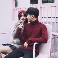 秋冬韩版情侣毛衣新款纯色针织衫高领套头毛线衣衫男女打底衫