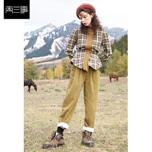 两三事牧野游客2018冬装新款简约系带灯芯绒裤子女宽松休闲裤长裤
