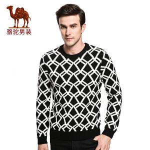 骆驼&熊猫联名系列男装 时尚青年撞色修身套头菱形加厚长袖毛衣男