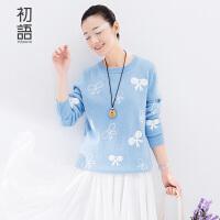 初语文艺冬季新品蝴蝶结罗纹套头长袖毛衣女8540423028