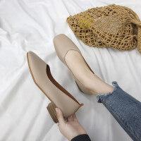 春夏新款韩版粗跟单鞋女浅口方头复古奶奶鞋学生懒人鞋中跟小皮鞋