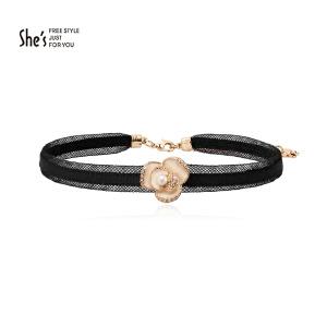 【预售】She's茜子 滴油山茶花choker颈链项圈时尚短款项链花朵吊坠 流行饰品礼物