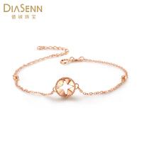 德诚珠宝 18K金星星手链时尚玫瑰金彩金链子礼物送女友正品